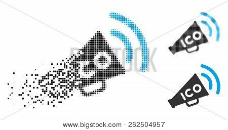 Ico News Megaphone Icon In Dissolving, Dotted Halftone And Undamaged Solid Versions. Pieces Are Grou