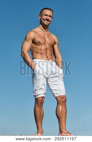 I Love How Sport Makes Me Feel. Muscular Man Enjoy Good Health. Man With Muscular Body. Doing Sport