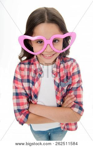 Kid Happy Lovely Feels Sympathy. Child Charming Smile Fall In Love. Girl Heart Shaped Eyeglasses Cel