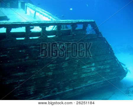 Underwater landscape with boat fragments. The Red Sea