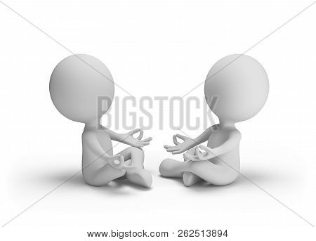 Two People Meditating While Sitting Against Each Other. 3d Image. White Background.