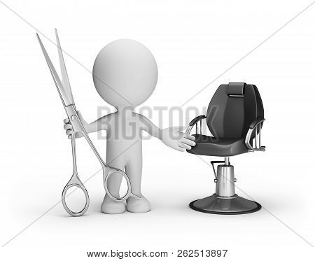 Hairdresser With Scissors In Hand Invites Customers. 3d Image. White Background.