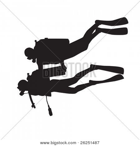 Introduction diving silhouette. Diver with instructor