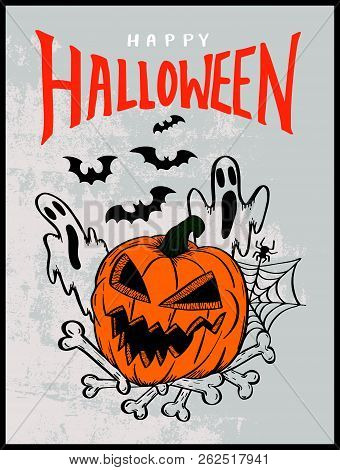 Happy Halloween With Pumpkin And Bats Drawing Style For Poster And Invitation Card.