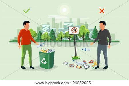 Correct And Wrong Littering Garbage Around The Trash Bin With Person Throwing Away Waste