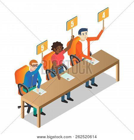 Jury judges holding scorecards vector isometric illustration poster