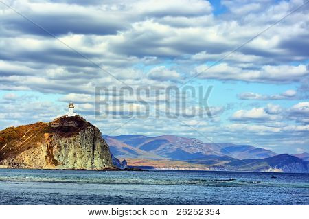 Coast of Japanese sea. Lighthouse. Dalnegorsk. Russia. HDR tonemapped
