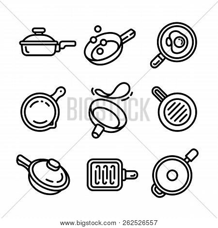 Griddle Icon Set. Outline Set Of Griddle Icons For Web Design Isolated On White Background