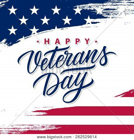 Usa Veterans Day Greeting Card With Brush Stroke Background In United States National Flag Colors An