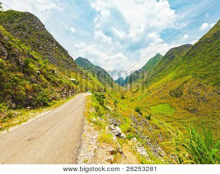 Mountain road in beautiful valley. Ha giang. Vietnam