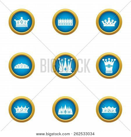 Attire Crown Icons Set. Flat Set Of 9 Attire Crown Vector Icons For Web Isolated On White Background