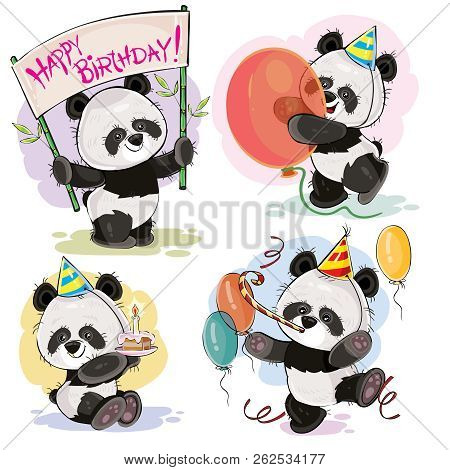 Set Cute Baby Panda Bears In Cardboard Hats, With Cake And Candle, With Happy Birthday Banner, Ballo