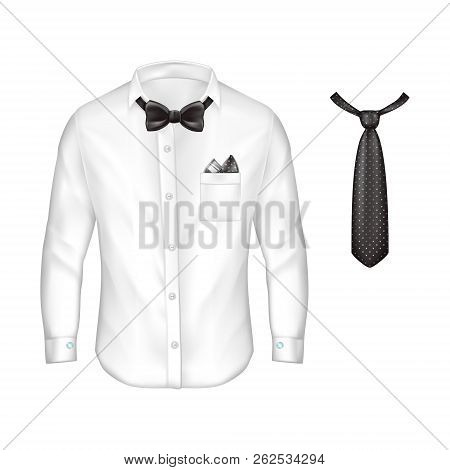 3d Realistic White Male Shirt With Long Sleeves, Buttons And Cufflinks, Bow-tie, Handkerchief In Poc