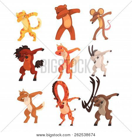 Various Animals Standing In Dub Dancing Poses Set, Cute Cartoon Wild Animals Doing Dubbing Vector Il