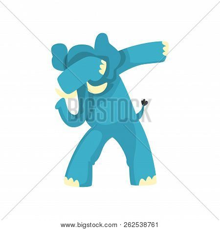 Elephant Standing In Dub Dancing Pose, Cute Cartoon Animal Doing Dubbing Vector Illustration On A Wh