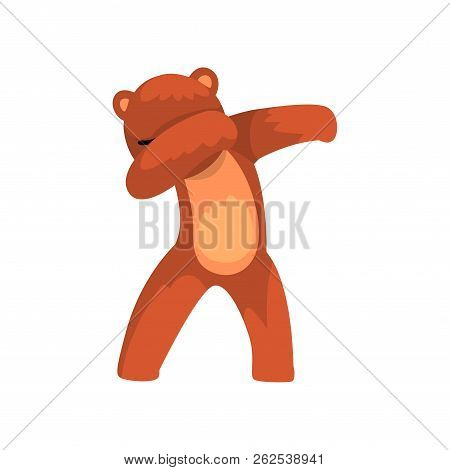 Cute Bear Standing In Dub Dancing Pose, Cartoon Wild Animal Doing Dubbing Vector Illustration On A W