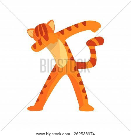 Tiger Standing In Dub Dancing Pose, Cute Cartoon Wild Animal Doing Dubbing Vector Illustration On A