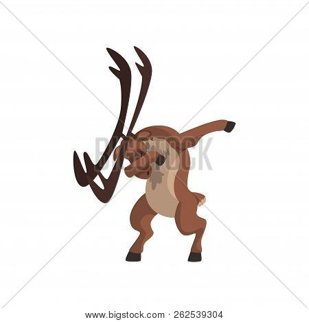 Elk Standing In Dub Dancing Pose, Cute Cartoon Animal Doing Dubbing Vector Illustration On A White B