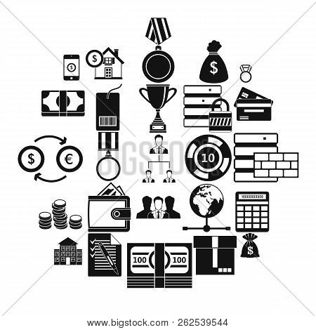 Monetary Expenses Icons Set. Simple Set Of 25 Monetary Expenses Vector Icons For Web Isolated On Whi