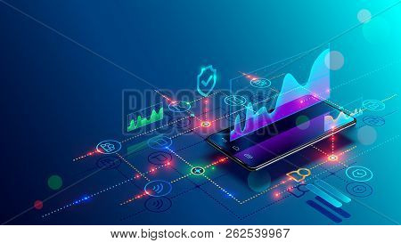 Application Of Smartphone With Business Graph And Analytics Data On Isometric Mobile Phone. Analysis
