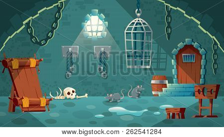 Vector Concept Illustration With Medieval Prison Cell. Castle Dungeon, Room For Prisoners, Interior