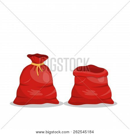 Santa Claus Red Bag And Open Empty Sack Santa Claus. Red Big Bag For Gifts. Christmas And New Year H