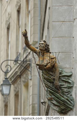 Saint Malo, France - August 29, 2018: Close-up On A Figurehead Statue Located Above Grands Degres St