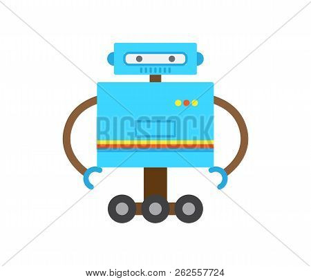 Robot Of Blue Color With Hands And Squared Head, Wheels Or Stand, Robotic Creature, Modern Technolog