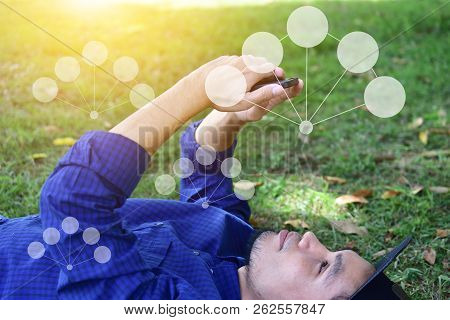 People Use Smartphone Communication Technology In Modern Times. And Communication Of The Future Huma