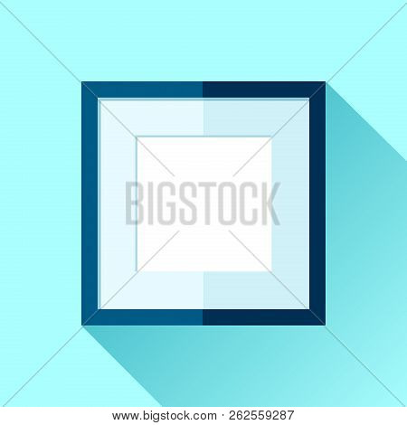 Simple Squre Frame In Flat Style. Blue Frame On Color Background. Vector Design Object