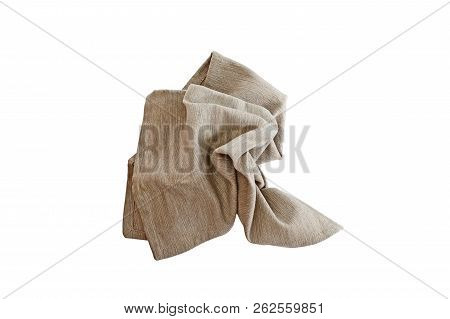 Messy Crumpled Linen Napkin Isolated Over A White Background With Clipping Path Included. Image Shot
