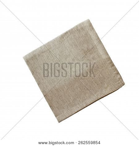 Square Linen Napkin Isolated Over A White Background With Clipping Path Included. Image Shot From Ov