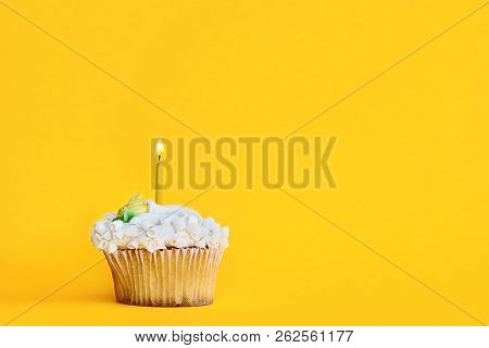 Pretty Vanilla Flavored Cupcake With Buttercream Frosting And Decorated With White Chocolate Shaving