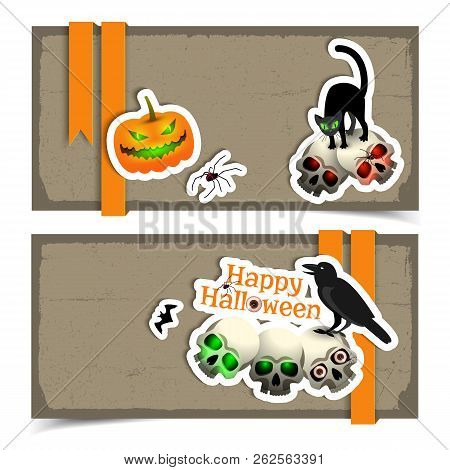 Happy Halloween Horizontal Banners In Grunge Style With Traditional Symbols Paper Application Flat V
