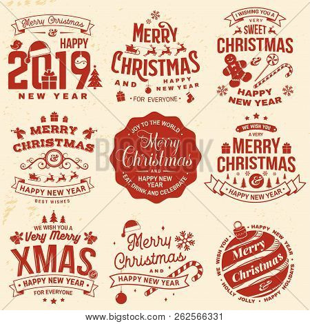 Set Of Merry Christmas And 2019 Happy New Year Stamp, Sticker Set With Snowflakes, Hanging Christmas