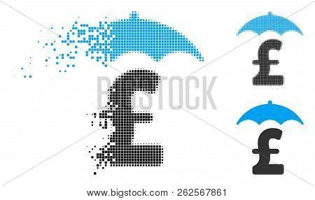 Pound Finances Roof Icon In Fractured, Pixelated Halftone And Undamaged Solid Variants. Cells Are Co
