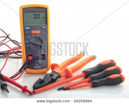 Insulation Tester With Tools Isolated White Background