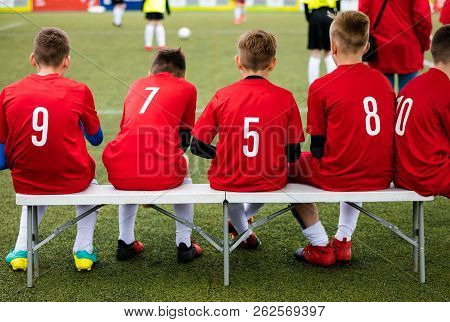 Kids Football Team. Soccer Children Watching Game. Football Soccer Tournament Match For Children. Ki