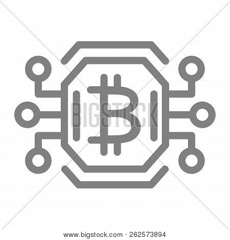 Bitcoin Chip Line Icon. Video Card Or Gpu Processor For Farming Bitcoin Vector Illustration Isolated