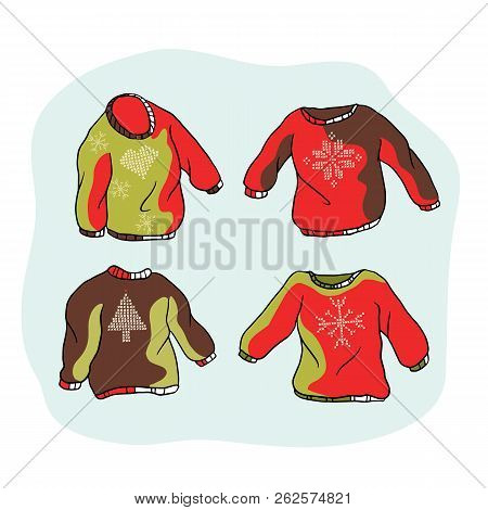Nordic Christmas Jumper Clipart Set. Hand Drawn Embroidered Ugly Sweater