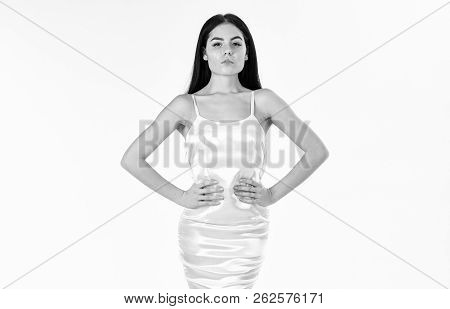 Femininity Concept. Fashion Model Wears Expensive Fashionable Evening Dress Or Wedding Dress. Woman