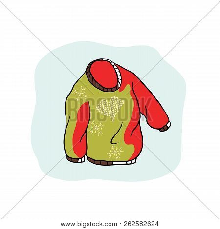 Nordic Christmas Jumper Vector Clipart. Hand Drawn Embroidered Heart Ugly Sweater