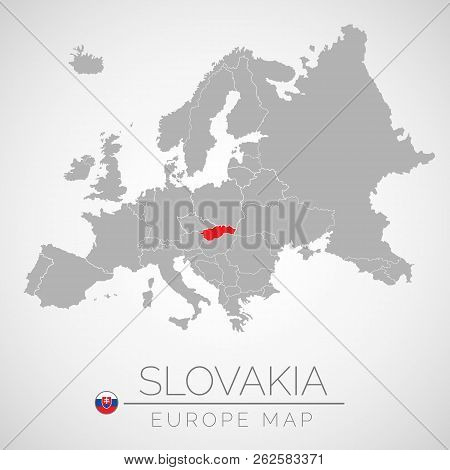 Map Of European Union With The Identication Of Slovakia. Map Of Slovakia. Political Map Of Europe In