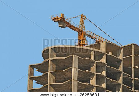 monolithic housebuilding against blue sky