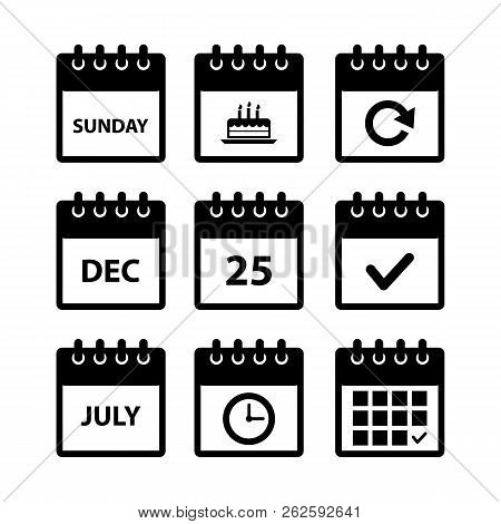 Calendar Icons For Web Design, Calendar Symbol, Flat Calendar, Graphic Element, Web Design, Calendar