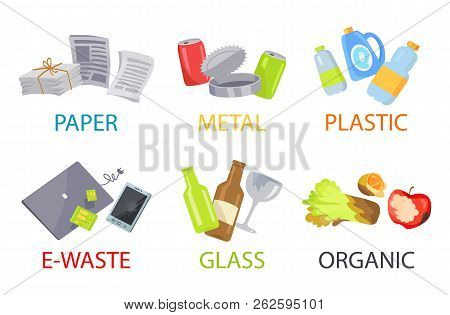 Paper Metal Plastic Glass Organic And E-waste Set, Vector Illustration With Trash Icons Collection I