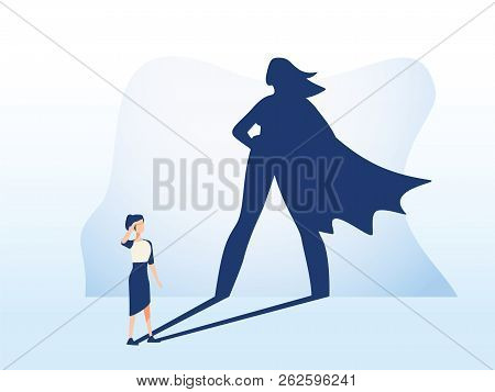 Businesswoman With Superhero Shadow. Business Symbol Of Emancipation Ambition, Success And Motivatio