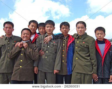 PAKTUSAN - SEPTEMBER 7: group of North Korean soldiers on the top of Paktusan mountain, September 7, 2008, North Korea