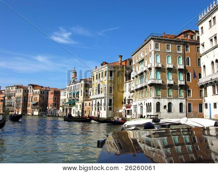 The boats floats on the Grand of Venice