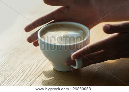 Relax In Cafe Or Coffee Shop And Drink. Barista Propose Americano Or Espresso Coffee Cup. Perfect Mo